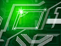 Green Lines Background Shows Telecommunications And Data Pathway Royalty Free Stock Images