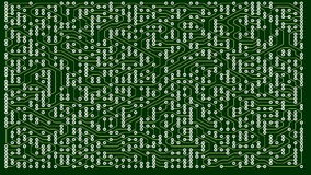 Green lines drawn by bright spots eventually create an abstract image of a circuit board. It may represent electronic stock footage