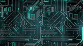 Green lines moving through circuit board