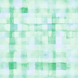 Green lines and squares painted watercolor pattern Royalty Free Stock Images