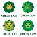 Green lion logo set Stock Photos