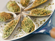 Green Lip Mussel With A Provencale Herb Crust Stock Photography