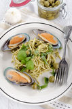 Green lipped mussels with spaghetti Royalty Free Stock Images