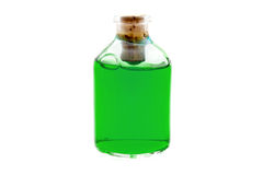 Green liquid in the bottle Royalty Free Stock Images