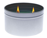 Green Lit Holiday Candle Stock Photography