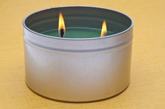 Green Lit Holiday Candle Stock Photo