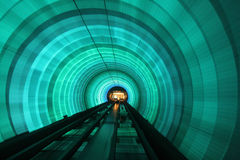 Green lit tunnel,. Pedestrian, tunnel, Shanghai, China, Asia Royalty Free Stock Images