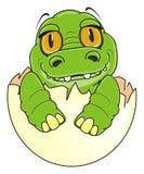 Green little crocodile on egg. Smiling baby crocodile peek up from broken egg vector illustration