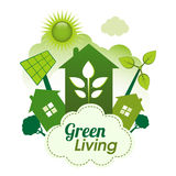 Green Living. Concept. Green housing community on a cloud Royalty Free Stock Images