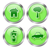 Green Living Icon Buttons Royalty Free Stock Photos