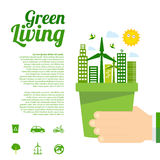 Green living infographic. This is green living infographic design.  file Stock Image