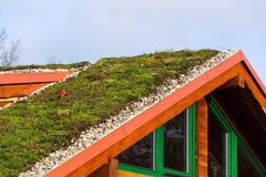 Green living roof on wooden building covered with vegetation Stock Photos
