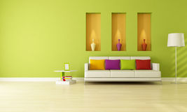 Green living room vector illustration