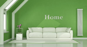 Green living room in the attic Royalty Free Stock Photography