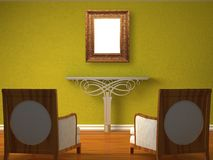 Green living room with frame Stock Images