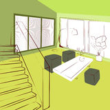 Green living room Stock Images