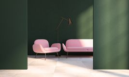 Green living room, pink armchair, sofa, doorway. Living room interior with dark green walls, a checkered floor, a pink couch with an armchair near it in a Stock Image