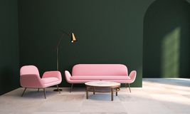 Green living room, pink armchair and sofa. Living room interior with dark green walls, a checkered floor, a coffee table and a pink couch with an armchair near Stock Photo