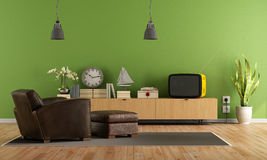 Green Living room with retro  tv Stock Images