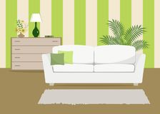Green living room with a white sofa. There is also a curbstone with flowers and lamp in the picture. Behind the sofa there is a large room flower. Vector flat Royalty Free Stock Photos