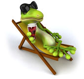 Green lizard. Fun green gecko, 3d generated picture royalty free illustration