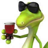 Green lizard. Fun green gecko, 3d generated picture stock illustration