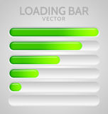 Green Loading Bars. Set with shine Royalty Free Stock Images