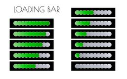 Green loading bars. Loading bars with green circles on the black background Royalty Free Stock Images