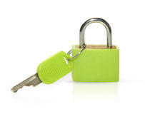 Green lock isolated on white background Royalty Free Stock Images
