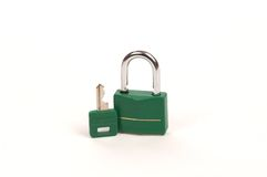 Green lock with Key royalty free stock photos