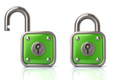 Green lock and unlock padlock 3d illustration. On white background royalty free illustration