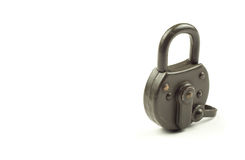 Green locked padlock on a white background. Green locked padlock. Security and data protection Stock Photo