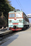 Green locomotive. In railway station, amoy city, china Stock Image