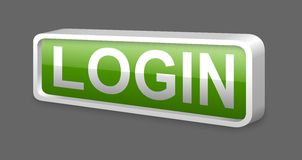 Green login glossy metal button Stock Images