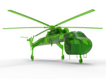 Green logistic helicopter. 3D render illustration of a green logistic helicopter. The composition is isolated on a white background with shadows Royalty Free Stock Photography