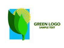 Green logo. With sun and green leaves and blue sky background Stock Photography