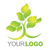 Green logo. Illustration of a green nature tree company logo isolated over white background Royalty Free Stock Photo