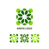 Green Logo Concept. Vector Set of Abstract Geometric Eco Symbols Isolated on White Background. Mosaic Leaves Icon Illustration Stock Image