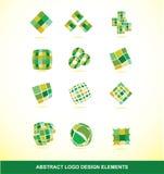 Green logo design elements set. Vector company logo icon element template green abstract square circle tone set Stock Illustration