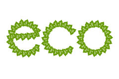 The green logo eco with simple green leaves. The green eco with simple green leaves logo Stock Illustration