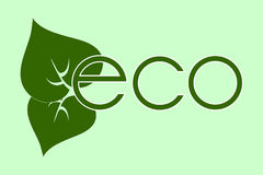 The green logo eco with simple green leaves. The green eco with simple green leaves logo Royalty Free Illustration