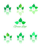 Green logo and icon. Abstract green leaves logo and icon. Green logos and icons set template. Green leafs on white background . Digital illustration for Art Royalty Free Stock Images