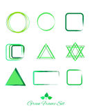 Green logo and icon and frame set. Green abstract frames logo and icons set. Green frames logos and icons set template. Green abstract frames on white background Royalty Free Stock Images