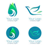 Green logo and icons vector. Collection of corporate logo elements and icons Royalty Free Stock Photography