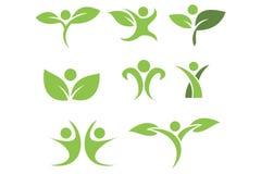 Green logo set. Green nature logo set Royalty Free Stock Photo