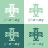 Green medicine logo. Green logo in the shape of a cross for the pharmaceutical and medical company Stock Photos
