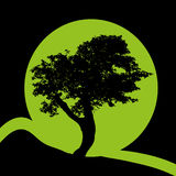 Green logo. Vith tree on black background Stock Image