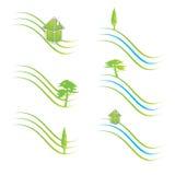 Green logos. Set of six Green logo contemporary design vector illustration Stock Photography