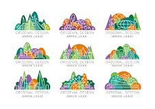 Green logos set. Abstract icons with amusement park, factory, city view, theater, and buildings against forest. Green logos collection. Abstract icons with Stock Photography