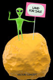 Green lonely alien. Standing on a small asteroid holding a sign Royalty Free Stock Photos